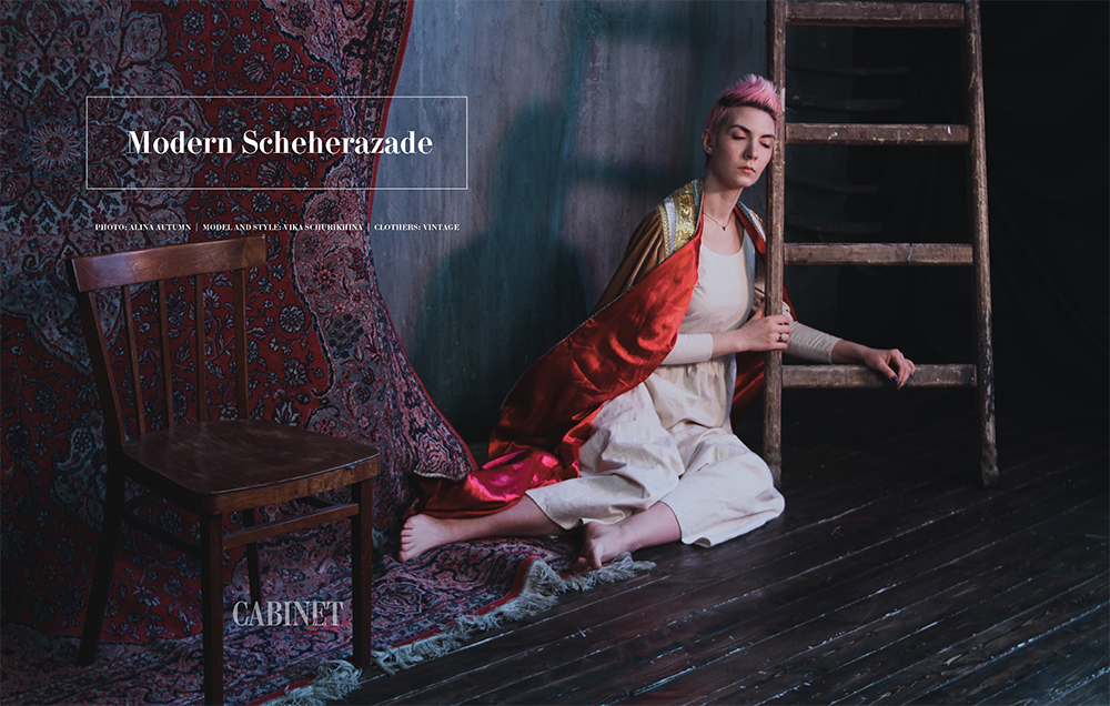 "Tittle ""Modern Scheherazade"" (Современная Шахерезада)  Photo: Alina Autumn (Алина Осенняя)  https://www.instagram.com/miraclekilly/ Model and style: Vika Schurikhina  (Вика Щурихина) https://www.instagram.com/vivacas Сlothers: Vintage (Винтажная одежда)"