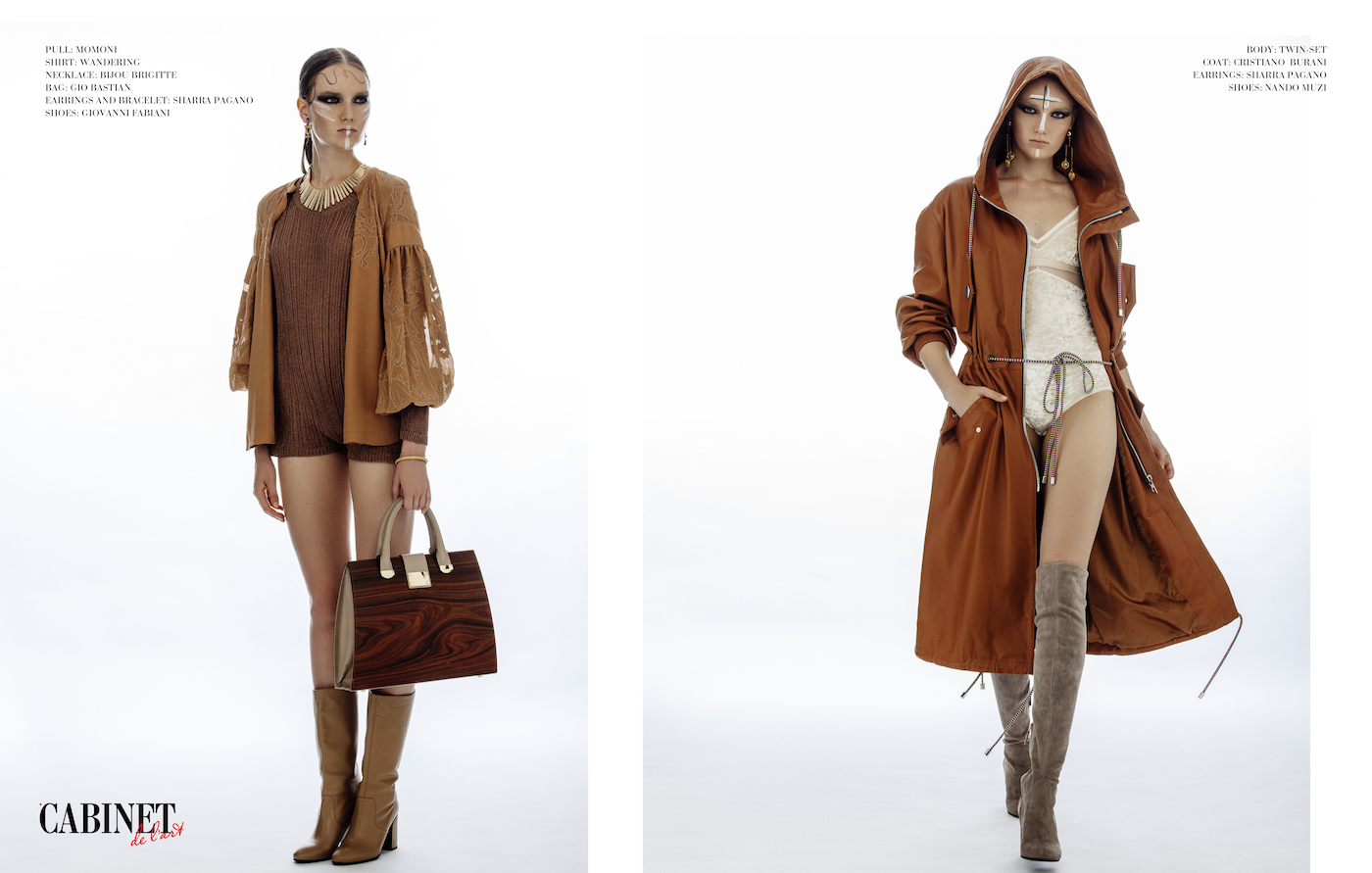 On the left:pull: Momoni, shirt: Wandering, necklace: Bijou Brigitte, bag: Gio Bastian, earrings and bracelet: Sharra Pagano, shoes: Giovanni Fabiani; on the right: body: Twin-set, coat: Cristiano Burani, earrings: Sharra Pagano, shoes: Nando Muzi