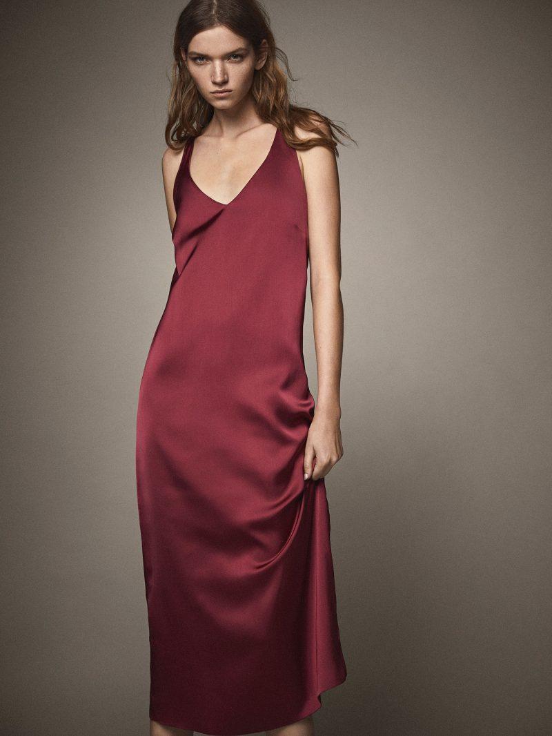 платье из сатина с контрастными деталями