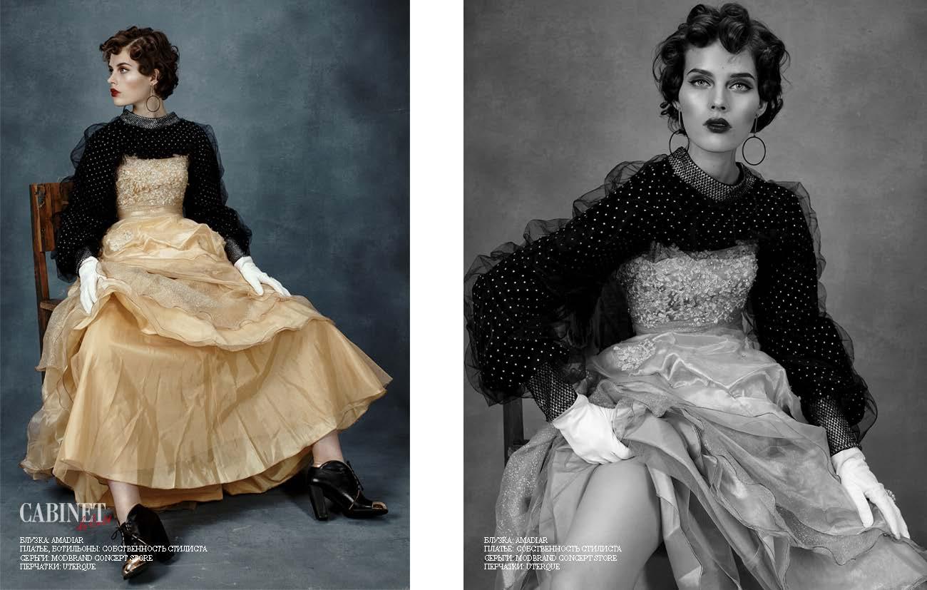 Блузка AMADIAR; Платье, ботильоны - все собственность стилиста; Серьги Modbrand Concept Store; Перчатки Uterque.