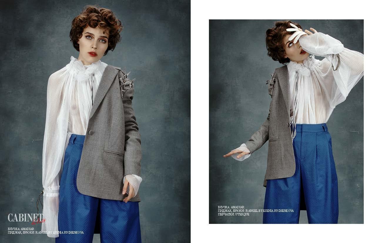 Блузка AMADIAR, пиджак, брюки - все R.angel By Ksenia Rychenkova, перчатки Uterque.