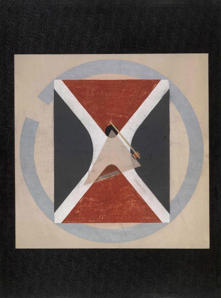Проун 43. Около 1922. Бумага черная тисненая, наклеенная на картон, гуашь, акварель, тушь, графитный карандаш, алюминиевая краска, чертежные инструменты, наклейки из цветной бумаги. 66,8 х 49.