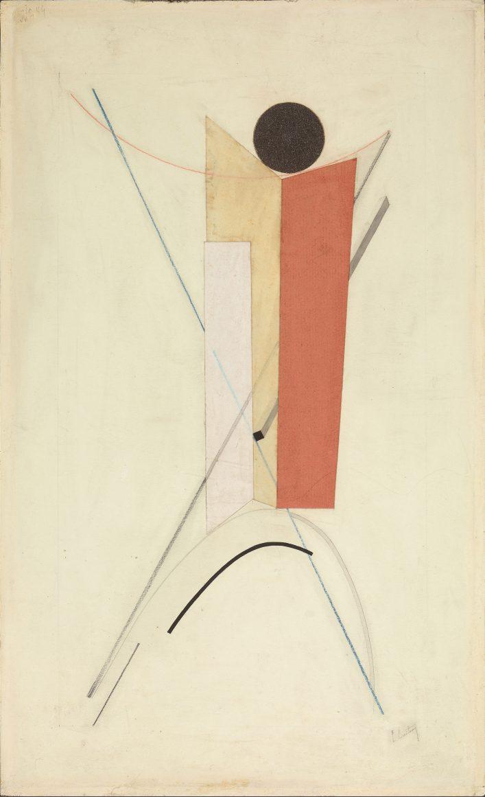 Фигура из геометрических форм. Около 1922. Вариант проуна 43. Бумага, наклеенная на картон, графитный и цветные карандаши, наклейки из цветной бумаги. 49,4 х 29,9.