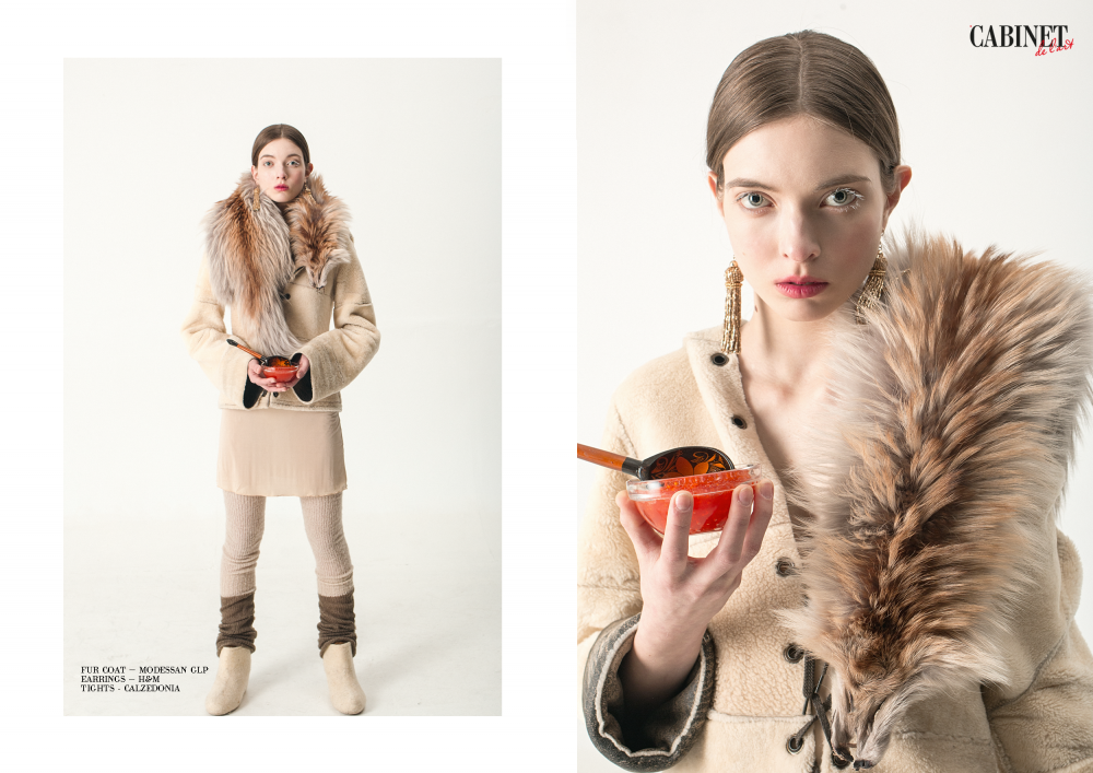 Шуба Modessan GLP, серьги H&M, колготки Calzedonia