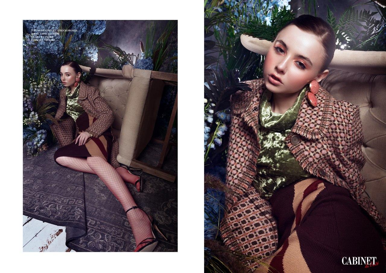 Top, skirt, coat by Rockobohos, Shoes Saint Laurent, Tights by Falke, Earrings vintage