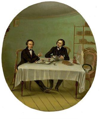 Пушкин и Гоголь за чаем