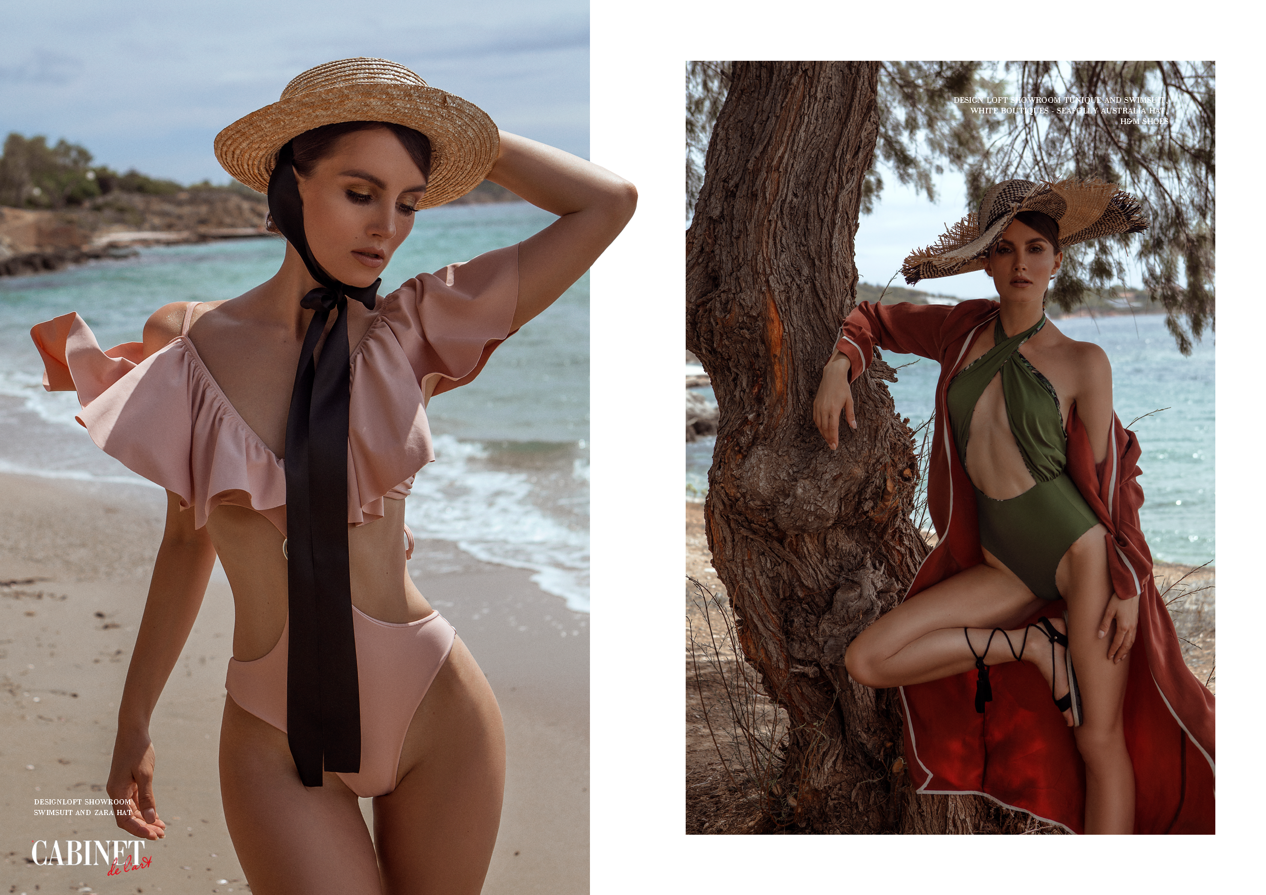 Слева:Designloft showroom swimsuit and zara hat ;Справа:Design loft showroom tunique and swimsuit, white boutiques - Seafolly Australia hat, H&M shoes