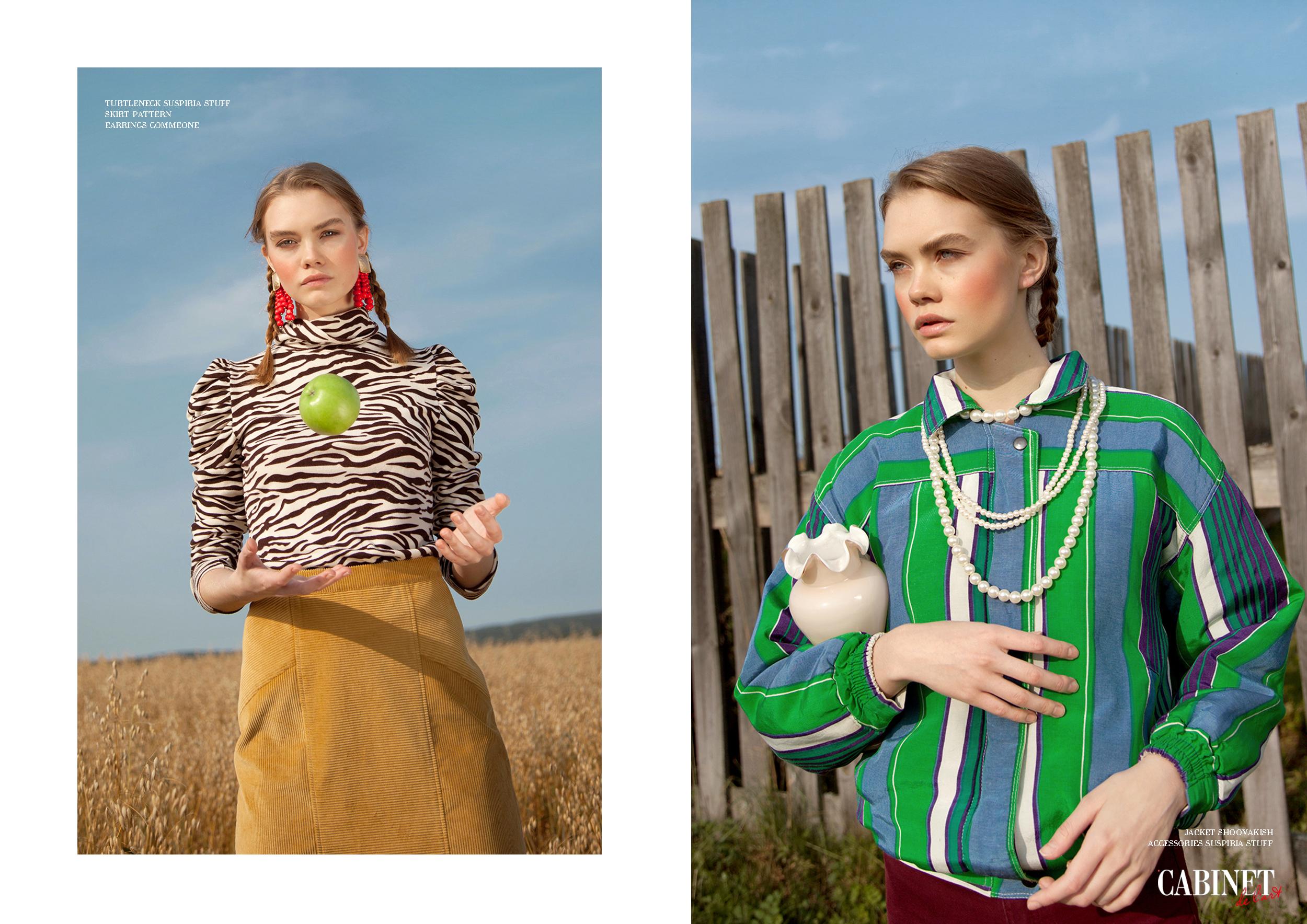 Справа: Turtleneck Suspiria Stuff Skirt Pattern, Earrings CommeOne ; Слева:Jacket Shoovakish, Accessories Suspiria Stuff