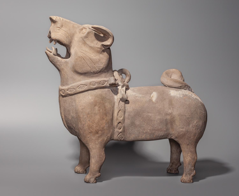 18. Dog. China, Han dynasty (206 BC - 220 AD). Grey clay_ forming, modelling, carving, baking. Kirill Daneliya Collection