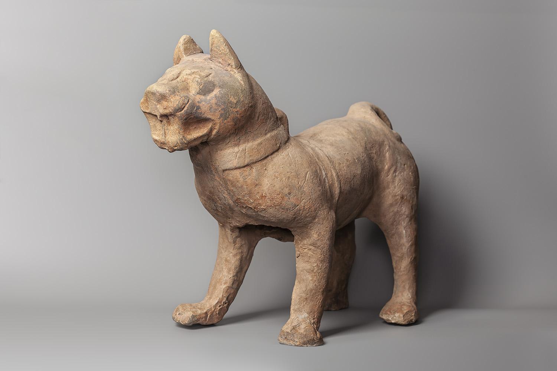19. Dog. China, Han dynasty (206 BC - 220 AD). Grey clay_ forming, modelling, carving, baking_ signs of painting. Katya Arshavskaya Collection(1)