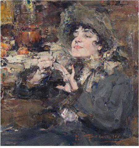 Николай Фешин, «Дама за маникюром. Портрет мадемуазель Жирмо», 1917